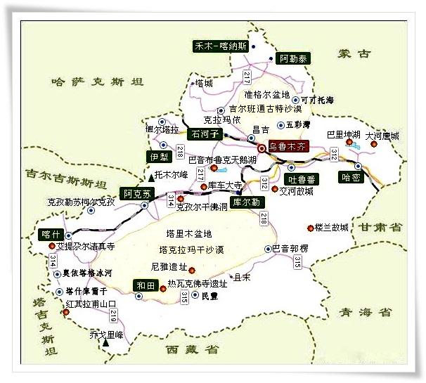 北疆旅游简图